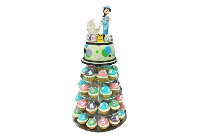 Baby Shower Cupcakes & Cake Tower