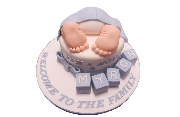 Babys Bum with Blocks Cake