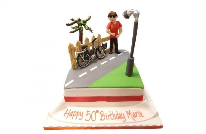 Bike Riding Scene Cake