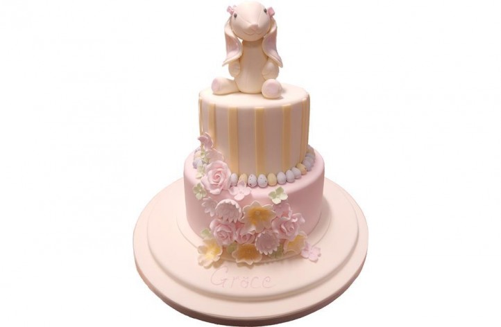 Bunny & Flowers Tiered Cake