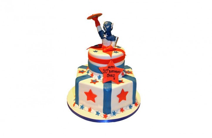 Captain America 2 Tiered Cake