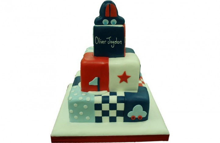 Cars Tiered Christening Cake