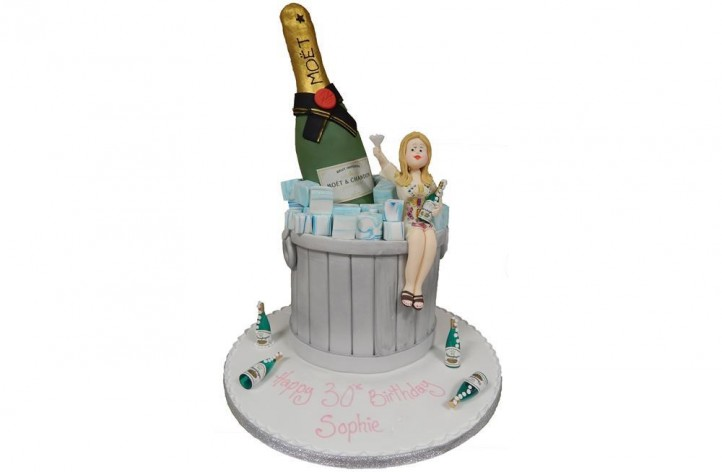 Champagne Bottle & Figure