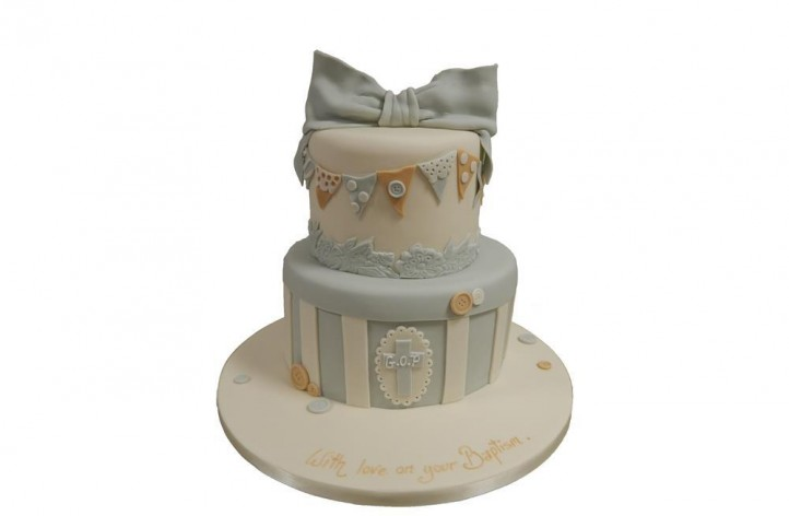 Christening Bow and Bunting Cake