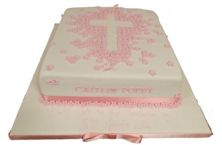 Christening Flower Cross Cake
