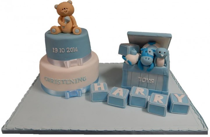 Christening Tiered Cake with Toy Box