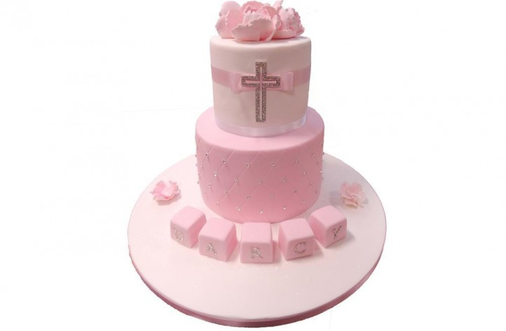Christening Tiered Cross Cake