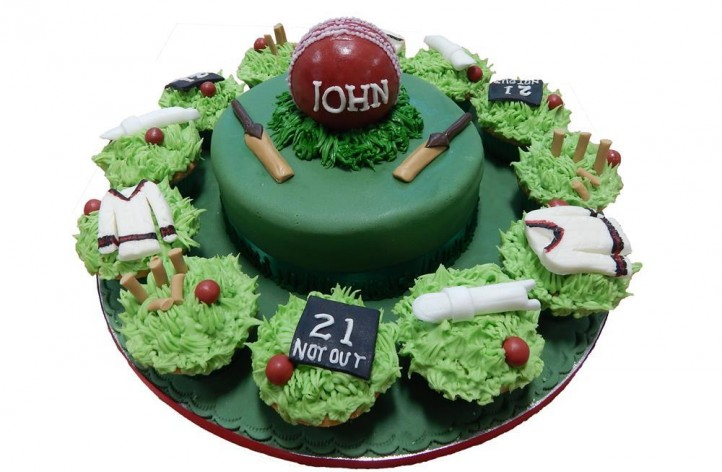 Cricket Themed Cake & Cupcakes