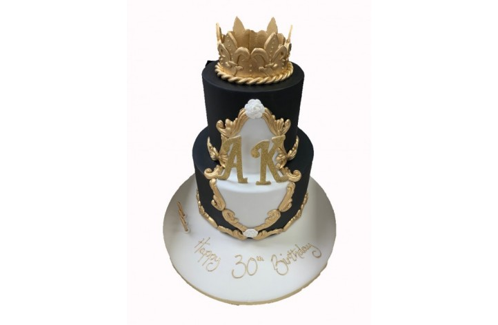 Crown & Initials Tiered Cake