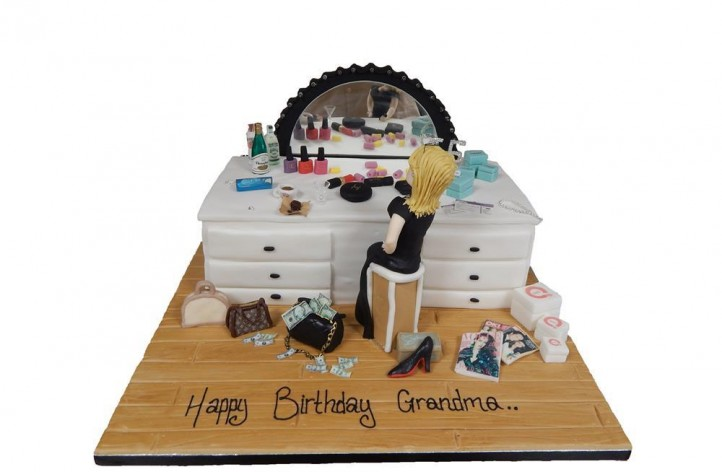 Dressing Table with Lights and Figure Cake