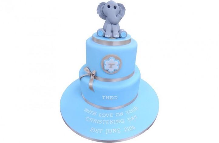 Elephant Tiered Christening Cake