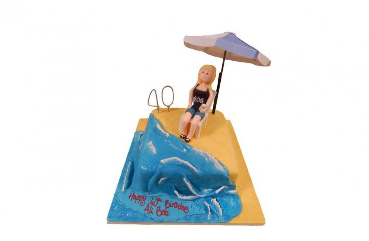 Figure and a Parasol Cake