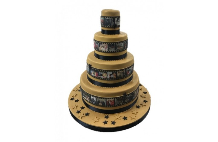 4 Tier Film Reel Celebration Cake