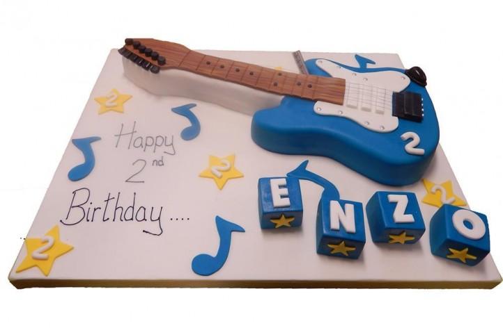 Guitar & Blocks Cake