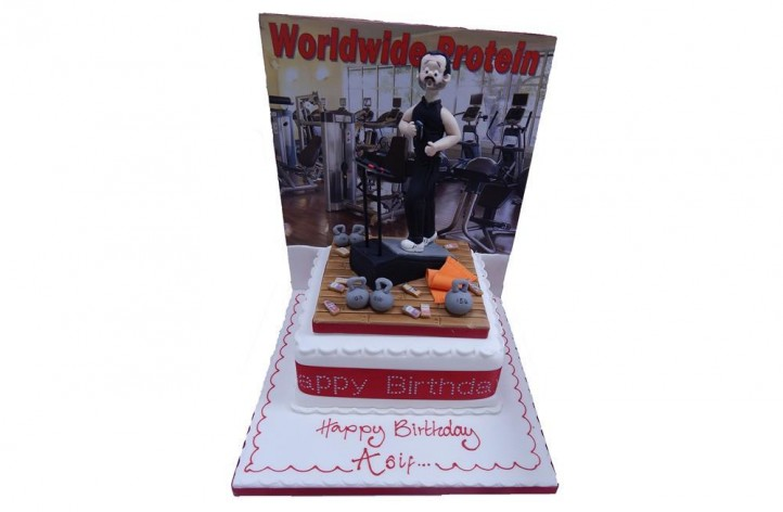 Gym Scene with Backdrop Cake