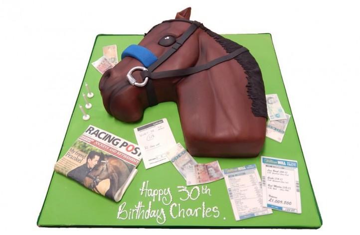 Horses Head Racing Cake