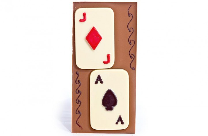 Large Chocolate Decorated Bar - Playing Cards