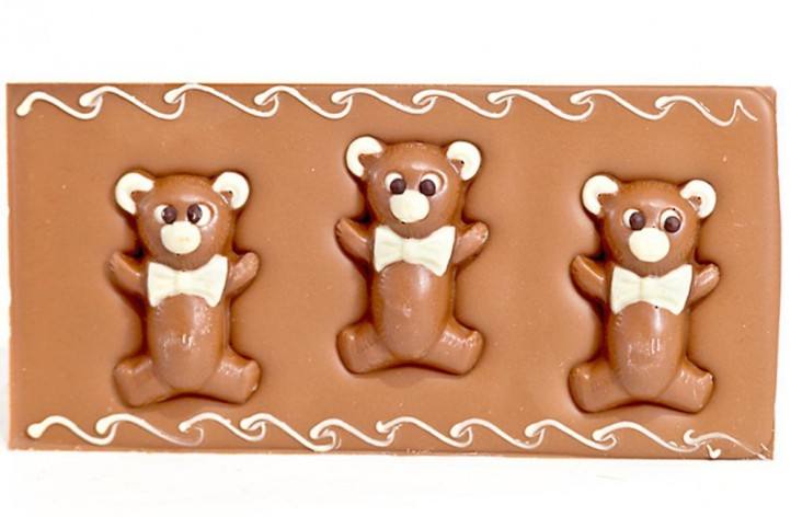Large Chocolate Decorated Bar - Teddy Bears