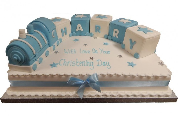 Large Christening Train Cake
