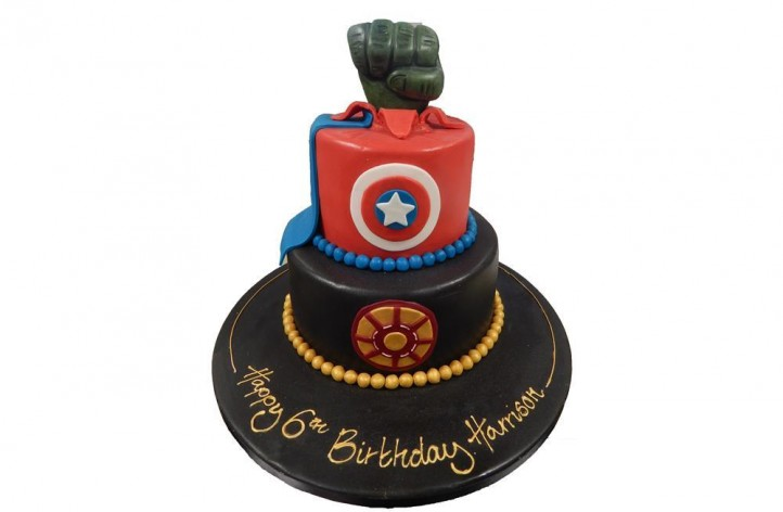 Marvel Comic Tiered Cake