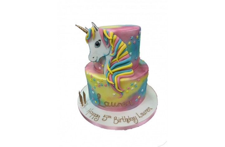 Multicoloured Unicorn Tiered Cake