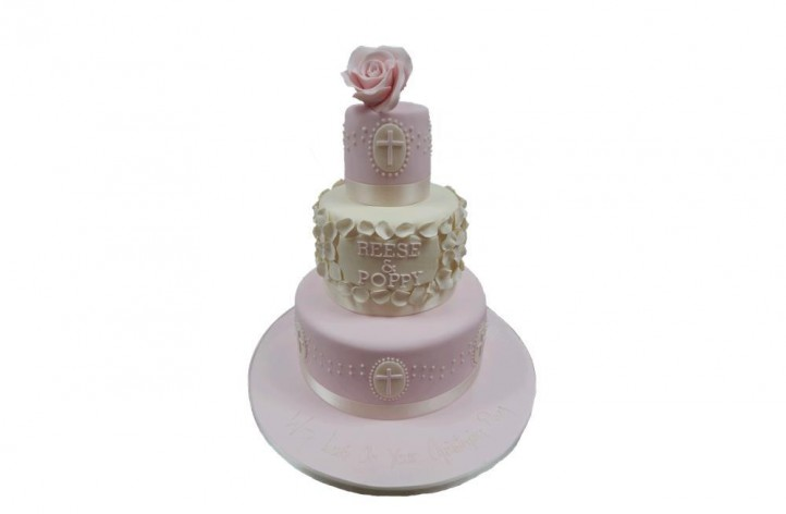 Petal & Rose Christening Cake
