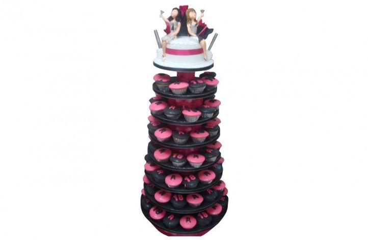 Pink & Black Tower Cupcakes