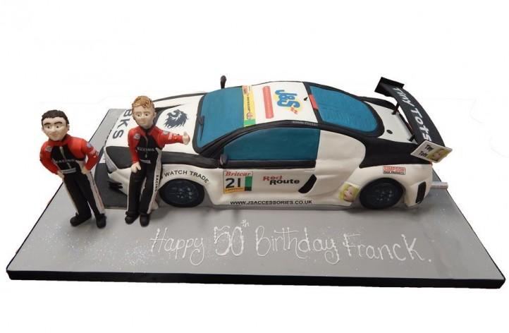 Racing Car with Two Figures Cake