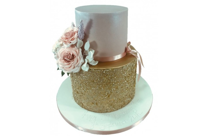 Tiered Sequins and Sugar Flowers