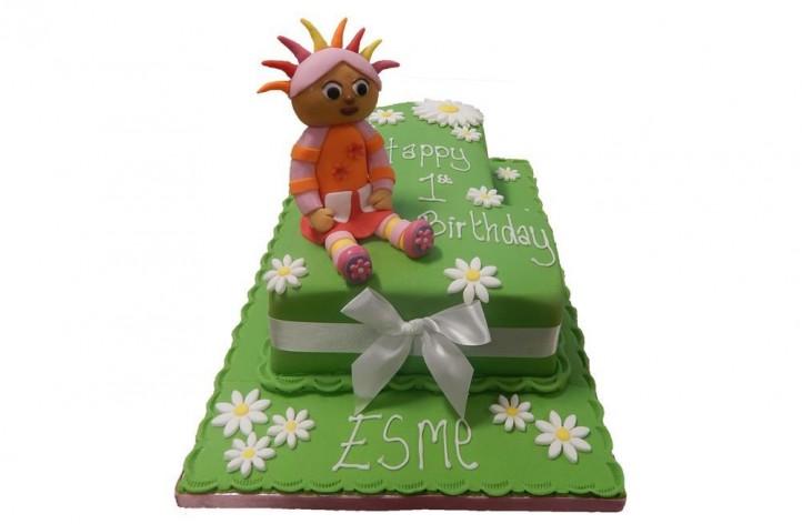 Single Figure with Upsy Daisy Cake