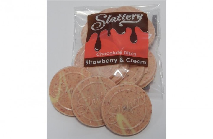 Strawberry & Cream Chocolate Discs