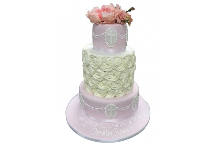 Tiered Whirl Christening Cake