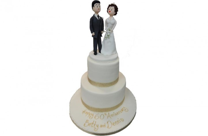 Tiered Anniversary Cake with Figures