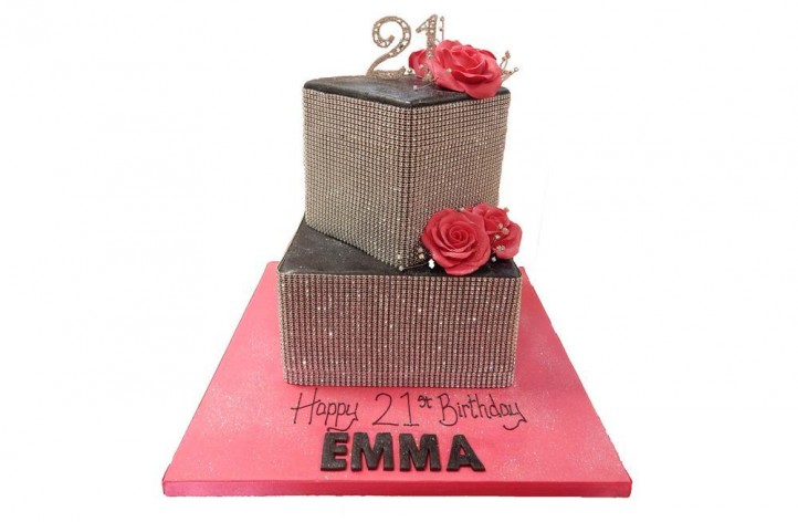 Tiered Bling & Flowers Cake