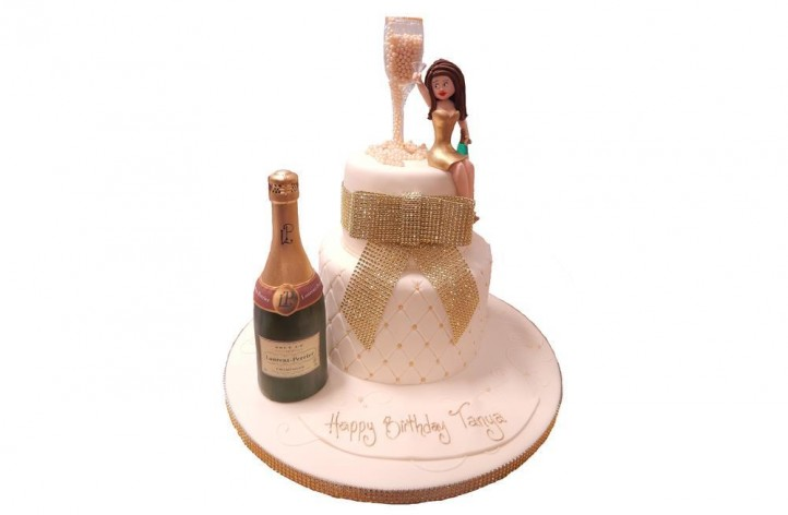 Tiered Cake with Champagne Glass & Figure