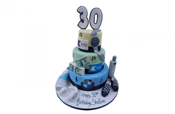 Tiered Cake with Number & Interests