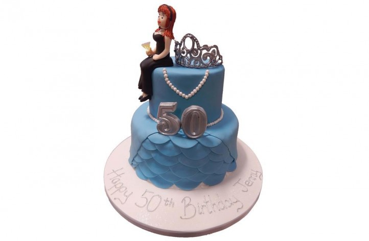 Tiered Cake with Tiara and Figure