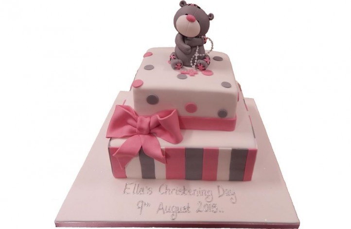 Tiered Christening Cake with Bow & Bear