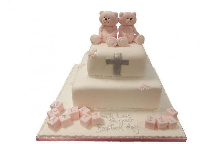 Tiered Christening Bears with Blocks Cake