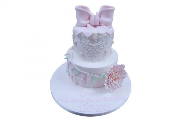 Tiered Christening Cake with Bunting, Lace & Bow