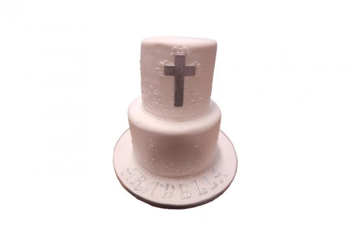 Tiered Christening Cake with Cross & Piping Detail