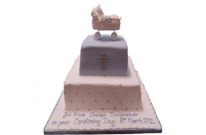 Tiered Christening Pram Cake