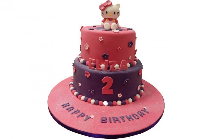 Tiered Hello Kitty Cake with Flowers