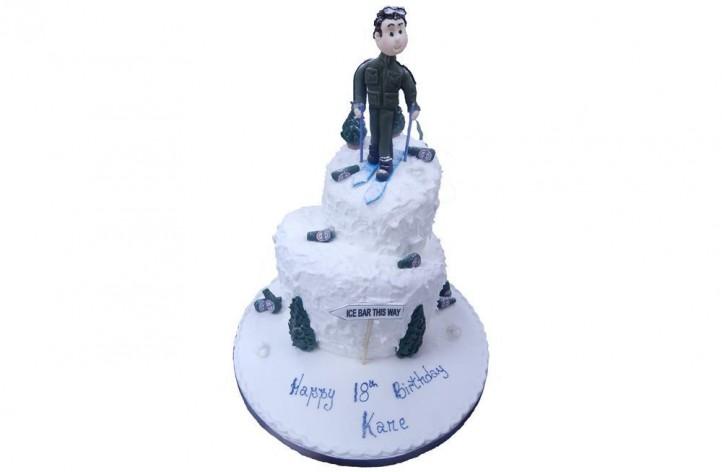 Tiered Ski Cake with Figure