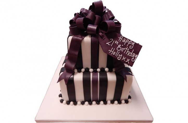 Tiered Stripes and Bow Cake