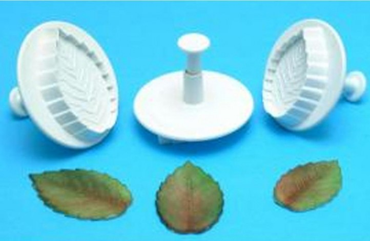 Veined Rose Leaf Plunger Cutter (Set of 3)