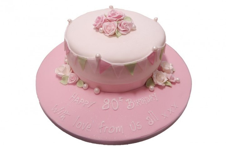 Vintage Cake with Bunting & Roses