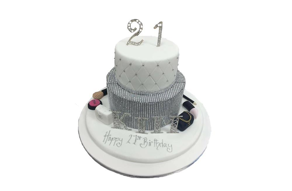 Pleasing Tiered Bling With Makeup Cake Funny Birthday Cards Online Elaedamsfinfo