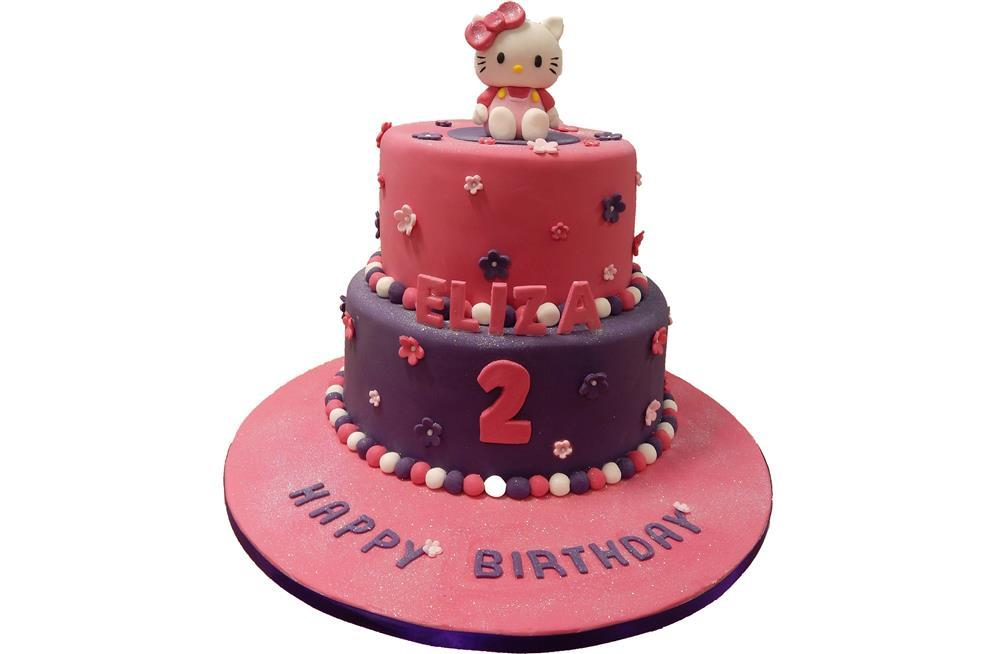 Superb Tiered Hello Kitty Birthday Cake Personalised Birthday Cards Paralily Jamesorg